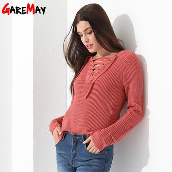 Women Pullover Sweater Slim Long Sleeve Knitted Blouse Sexy Tops Ladies Crocheted Knitwear Clothing