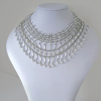 Vintage Bride Necklace  Collar Pearls Quartz Antique Gold Drop multi layer statement jewellery