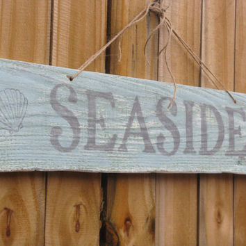 Rustic Seaside Beach Sign Light Blue Nautical Decor Beach House Cottage Chic Reclaimed Wood Sign Ocean Decor Shabby Chic Decor