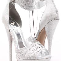 SILVER SPARKLY JEWELED HIGH HEELS