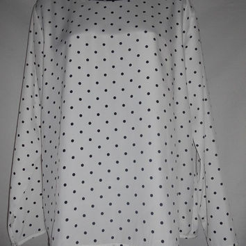 Vintage 80s Polka Dot Shirt Long Sleeve Blouse Dark Navy Blue and White Tess Brand