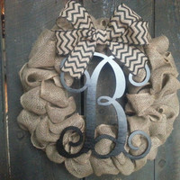 Burlap Wreath - Chevron Wreath - Monogram Wreath