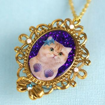 Princess Kitty Necklace - 'Under The Sea Kitty'