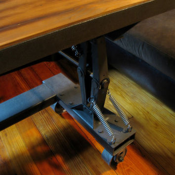 Adjustable Height Industrial Style Coffee Table/Desk. Industrial crank table