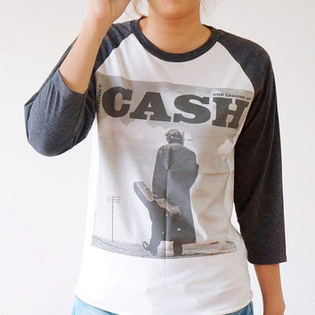 S,M,L - JOHNNY CASH Shirts Country Rock Shirts Rock And Roll Shirts Baseball Tee Jersey Raglan Long Sleeve Shirts Unisex Shirts Women Shirts
