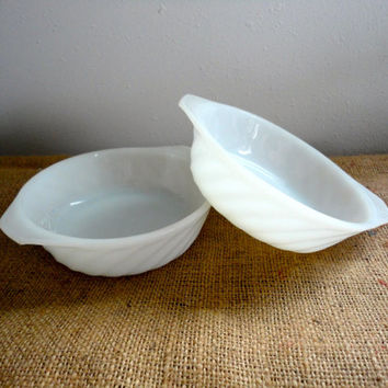 FireKing Milk Glass Swirl Pair of Bowls by Anchor Hocking Pretty Baking Dishes