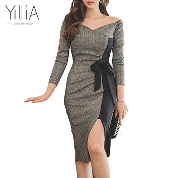 Elegant Off Shoulder Bodycon Dress Women Autumn Patchwork Knee Length Dress Office Ladies Work Long Sleeves Bow Black Gray Plaid
