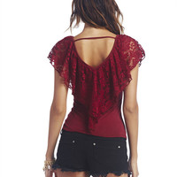 Lace Ruffle Top | Wet Seal