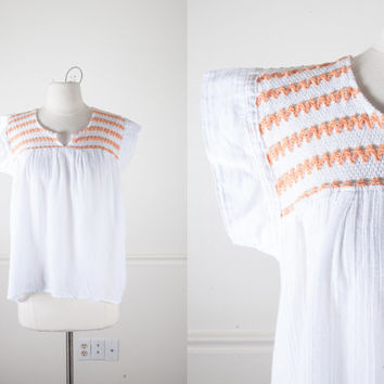 1970s Peasant Blouse | Vintage 70s Blouse Gauzy Boho Tunic Top Crocheted Hippie Top Boho Chic Sheer White Top Festival Gypsy Ethnic Blouse