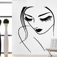 Lashes Makeup Wall Decal Lips Eyes Vinyl Sticker Decals Girl Woman Beauty Salon Hairdresser Spa Home Decor Bedroom Art Design Interior NV58 (28x35)