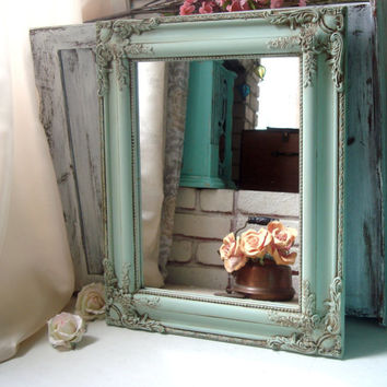 Mint Green Ornate Mirror, Sea Glass Green Vintage Mirror, Cottage Chic Mirror, Antique Green Shabby Chic Mirror