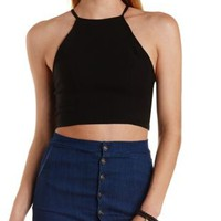Black Strappy-Back Halter Crop Top by Charlotte Russe