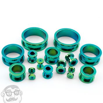 Stainless Steel Green Ear Tunnels