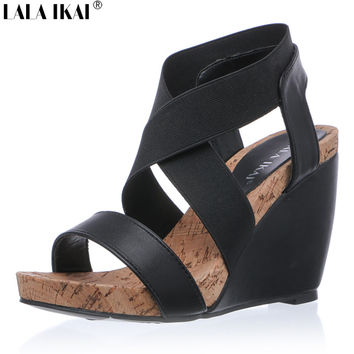 LALA IKAI Summer Women Wedge Sandals Cool Comfortable Bohemian Fashion Ladies High Heels Platform Buckle Strap Shoes 040F0925