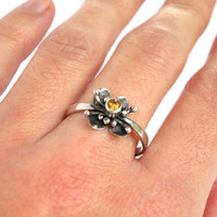 Sterling silver ring with faceted Citrine