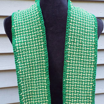 Liturgical Stole, Green Stole for Ordinary Time, Woven cotton stole for minister, pastor, clergy, gift for priest, ordination gift, handmade