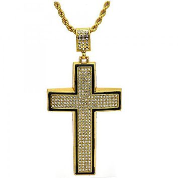 Gold Tone 04.242.0005.30GT Fancy Necklace, Cross and Rope Design, with White Crystal, Black Enamel Finish, Gold Tone