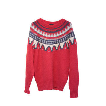 Red Nordic Sweater Vintage Woolrich Wool Sweater