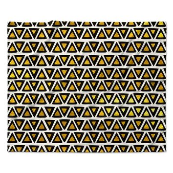 "Pom Graphic Design ""Aztec Triangles Gold"" Yellow Black Fleece Throw Blanket"