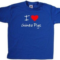 I Love Heart Guinea Pigs Royal Blue Kids T-Shirt