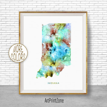 Indiana State Indiana Decor Indiana Print Indiana Map Art Print Map Artwork Map Print Map Poster Watercolor Map ArtPrintZone