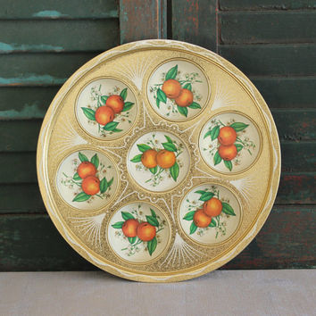 Orange tin serving tray, drink tray, orange blossoms, gold tray, cocktail party, coasters