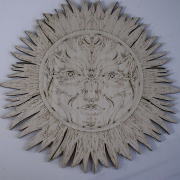 Sun Face Wood Shape, Laser Engraved, Unfinished Wood, Woodcrafting Pieces, Wood Shapes, Wall Art, Home Decor, Wreaths, Decorative Wood