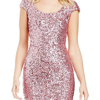 Purple Sequined Short Sleeve Dress
