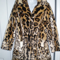 Faux leopard coat, vintage leopard coat, faux leopard fur coat Betty Rose coat size 10