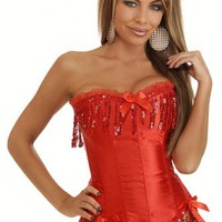 Red Sequin Burlesque Corset Intimates @ Amiclubwear Intimates Clothing online store:Lingerie,Corset,Bustier,Women's Intimates,Sexy Intimate,Corset Intimates,intimates underwear,sheer intimates,silk intimates,intimates bras,holiday underwear,garter belts,g