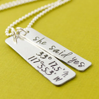 Latitude and Longitude Necklace - Cluster Necklace - Personalized with Your Coordinates and Quote