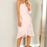One Shoulder Ruffle Hem Midi Dress Blush