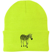 "ZEBRA ""FROZEN"" BEANIE IN NEON YELLOW"
