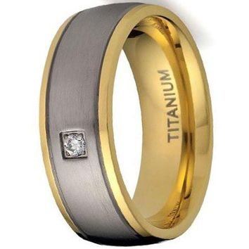 CERTIFIED 8MM Men's Titanium Ring Wedding Band 18K Gold-Plated with Round Cut CZ
