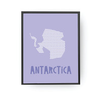Antarctica Blue Print, Map Illustration, Kids Room Decor, Kids Education, Classroom Decor, Nursery Decor, Continent Map, Children Gift