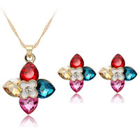 A Suit of Vintage Rhinestone Flower Petals Necklace and Earrings