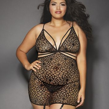Plus Size Mosaic Lace Garter Dress
