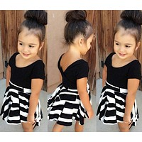 Lovely baby girls dress suits Children Clothing set Casual T-shirt+Skirt 2 Kids girl Clothes