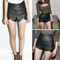 High Waist Punk Rock Faux Leather Slim Fit Asymmetric Shorts Hot Pants Womens F_F = 1901803076