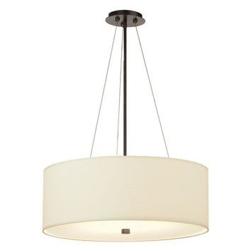 Philips BKIT-F43070U-F431 Taylor Four-Light Merlot Bronze Fluorescent Drum Pendant w/ 24 Inch White Grasscloth Shade