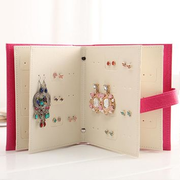 Fashion Design Jewelry Boxes And Packaging Pu Leather Stud Earrings Collection Book Creative Jewelry Display Jewelry Gift Box