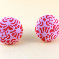 Flower Earrings Fabric Buttons