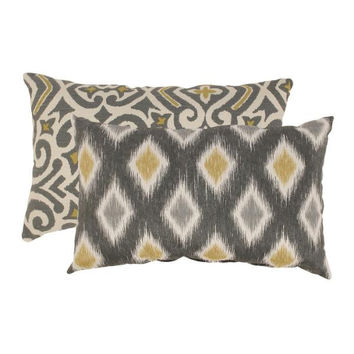 2  Chartreuse And Graphite Throw Pillows