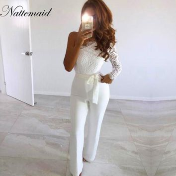 NATTEMAID new arrival Lace Jumpsuit Women Sexy Ladies Elegant one Shoulder Long Sleeve Overalls Femme Romper Jumpsuit