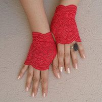 red lace glove, lace glove, bridesmaid glove, fingerless glove, wedding, bridal accessoriesFREE SHIP