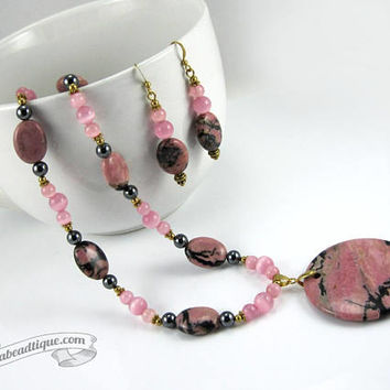 Pink Rhodonite Necklace Set statement necklace earrings set pink necklace birthstone earrings gemstone necklace girlfriend gift for wife
