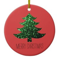 Christmas tree green sparkles + text Red ornament