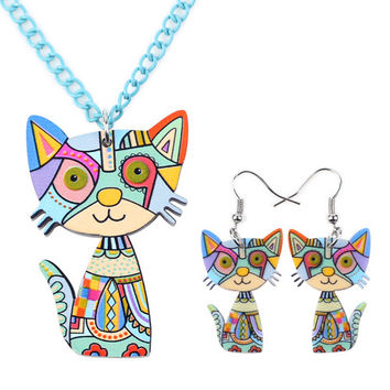 Acrylic Psychedelic Cat Necklace + FREE Earrings