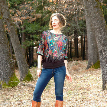 S A L E.......Size Medium... Vintage Velvet Baroque Top... Insanely Psychedelic Floral Explosion... SOME VELVET MORNING