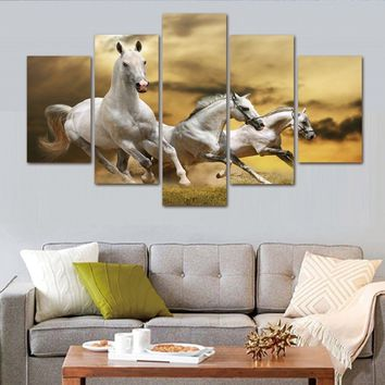 Fashion 5 Piece Frameless Modern Abstract Painting HD Print 3 Horses Are Running Landscape Art Canvas Poster Living Room Wall Ar
